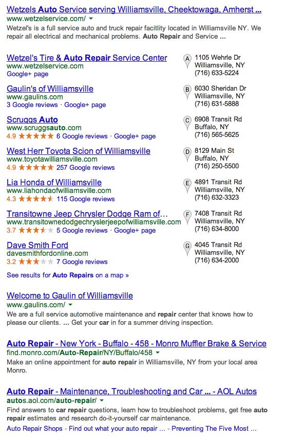 Auto Repairs Google