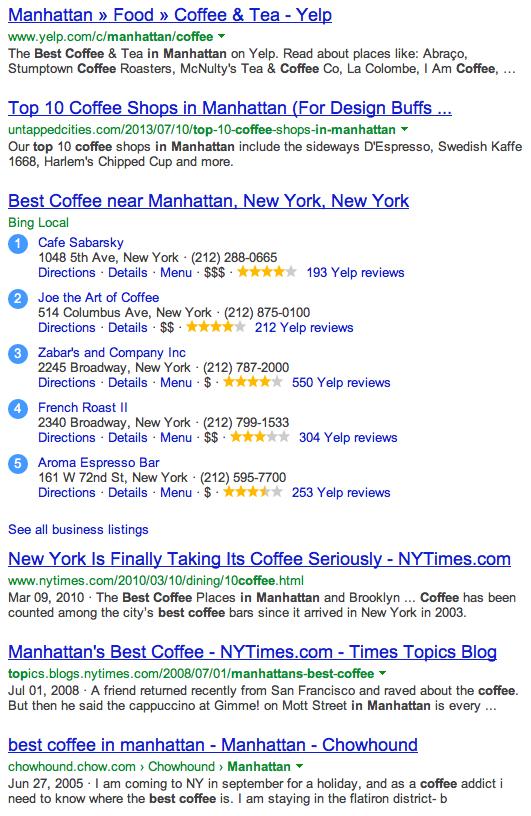 Best Coffee in Manhattan Bing