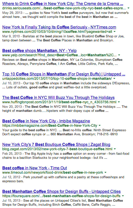 Best Coffee in Manhattan Google