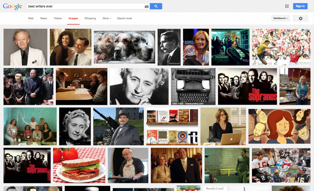 """A Google Image Search for """"Best Writers Ever"""" and no Shakespeare, Joyce, Eliot, Bulgakov, that other Russian everyone likes or even Steinbeck? The world is truly a vampire."""