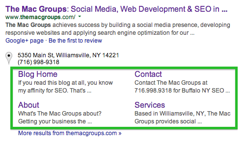 Google Site Links in Green