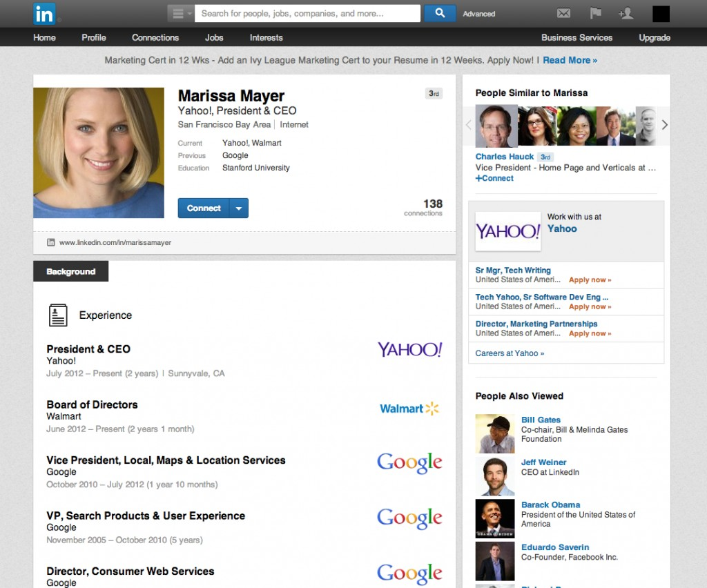 Marissa Mayer LinkedIn Profile