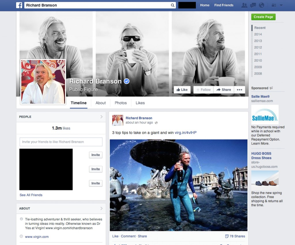 Richard Branson Facebook